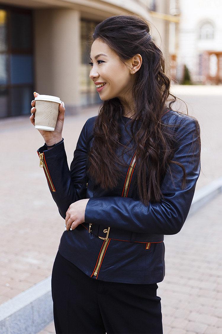 Куртка женская из натуральной кожи синяя, модель RC-05