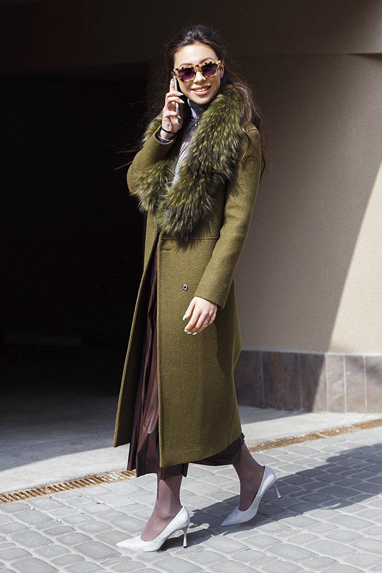 Пальто женское из шерсти зеленое, модель M 5015