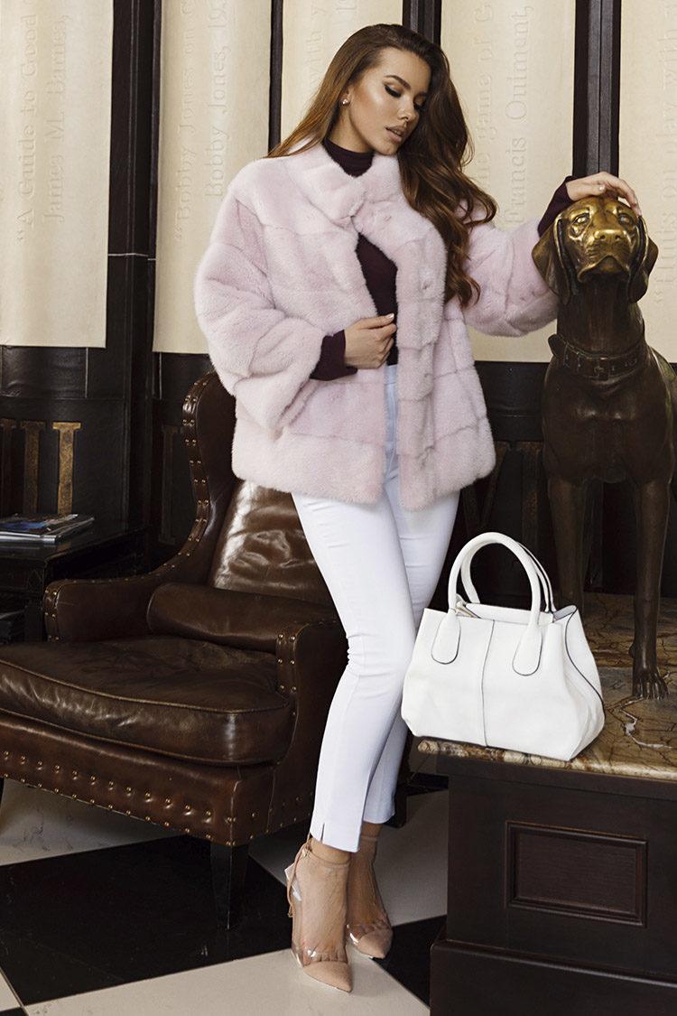 Шуба женская из норки розовая, модель 527/60