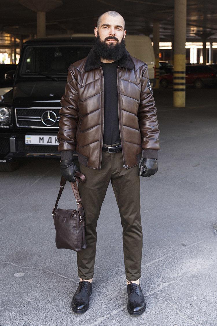 Куртка мужская из натуральной кожи коричневая, модель 18-12