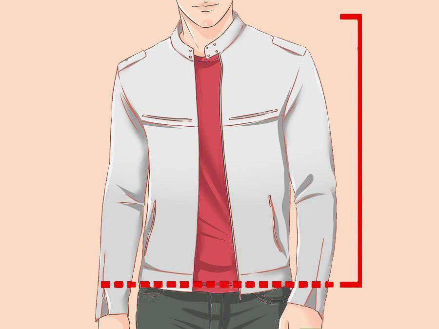 Убедитесь, что длина куртки заканчивается на талии