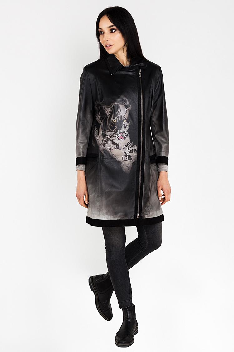 Куртка женская из натуральной кожи черная, модель 12560