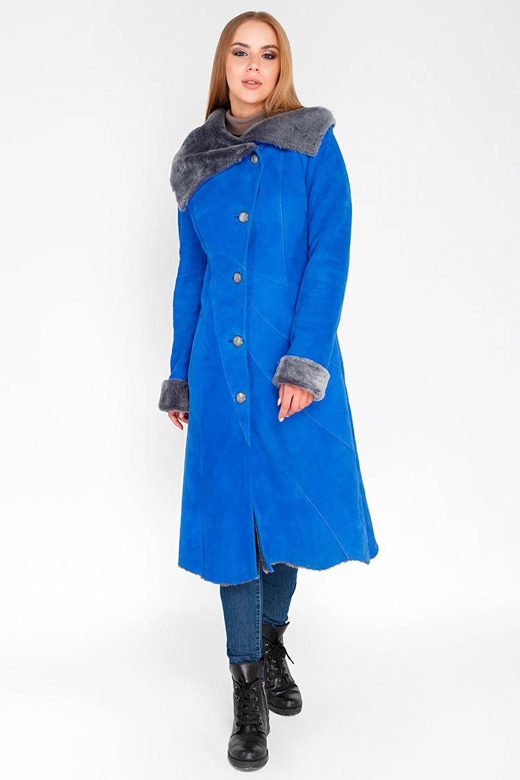 Дубленка женская из натуральной овчины синяя, модель 1487