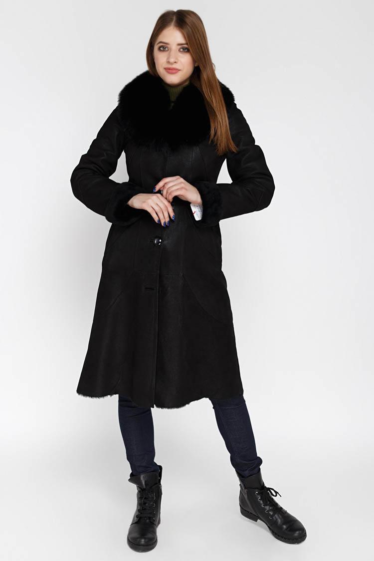 Дубленка женская из натуральной овчины черная, модель 5030