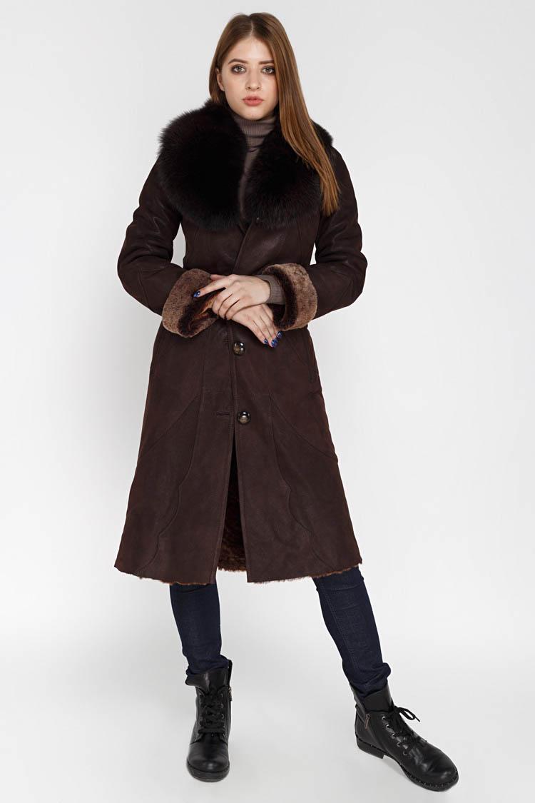 Дубленка женская из натуральной овчины коричневая, модель 5030