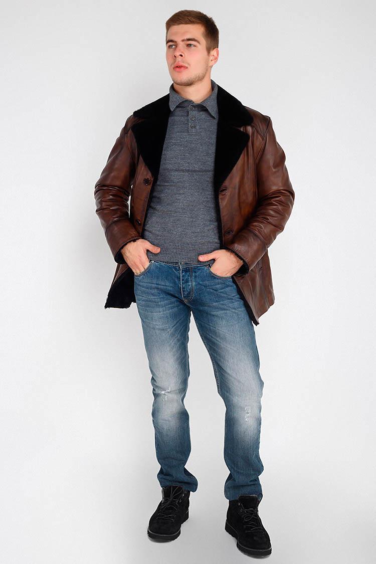 Дубленка мужская из натуральной овчины коричневая, модель 09