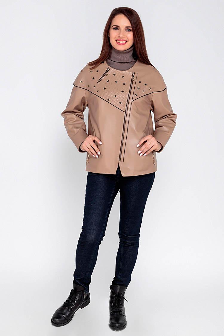 Куртка женская из натуральной кожи бежевая, модель 3012