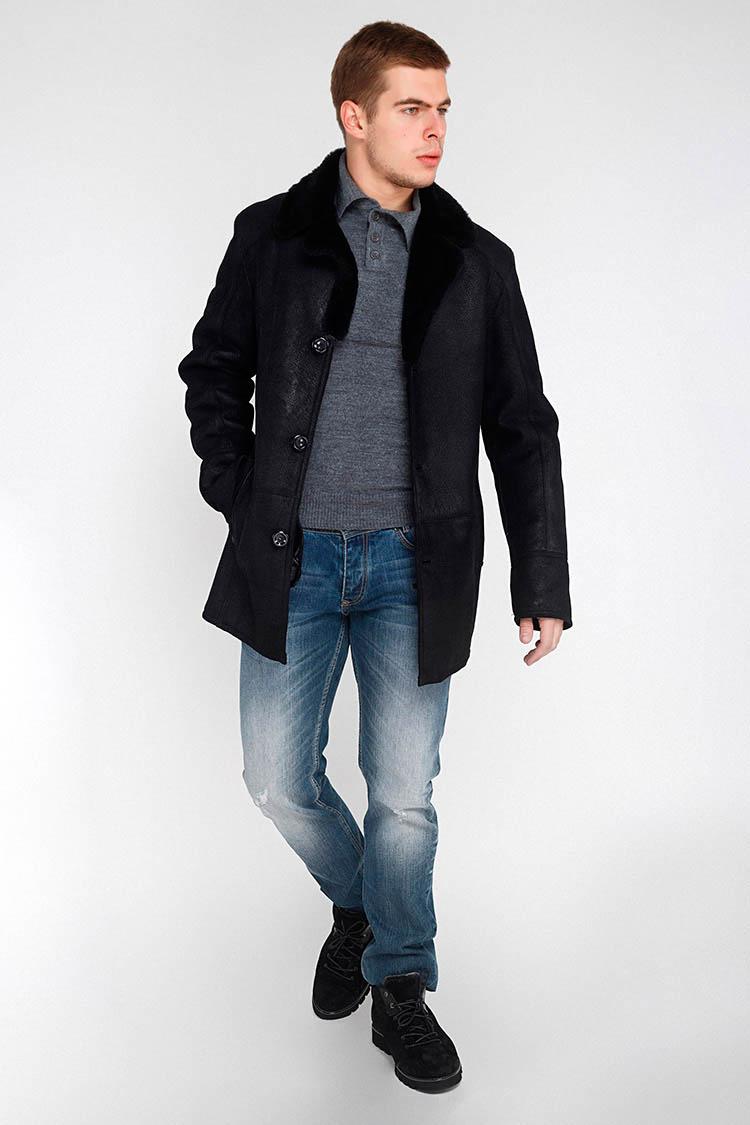 Дубленка мужская из натуральной овчины черная, модель 2013