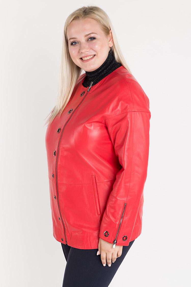 Куртка женская из натуральной кожи красная, модель 381/70