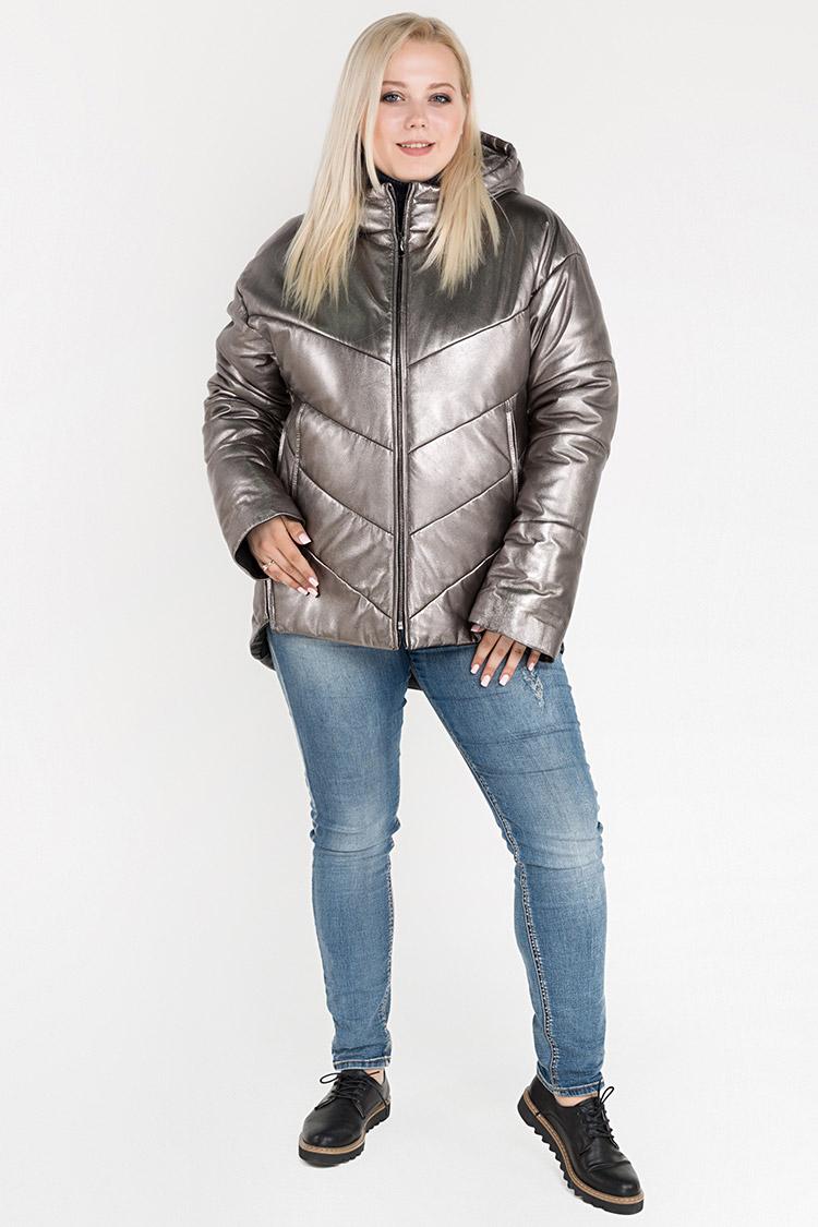 Куртка женская из натуральной кожи серая, модель 3001/KPS