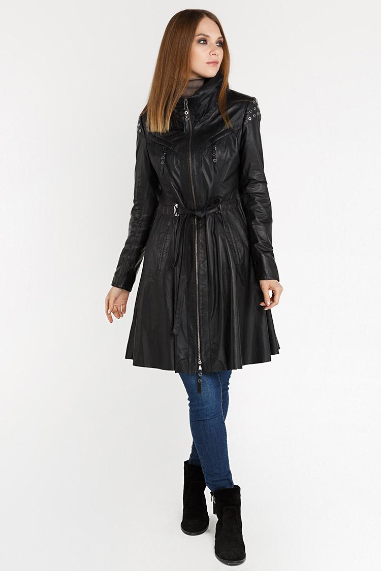 Куртка женская из натуральной кожи черная, модель 1440