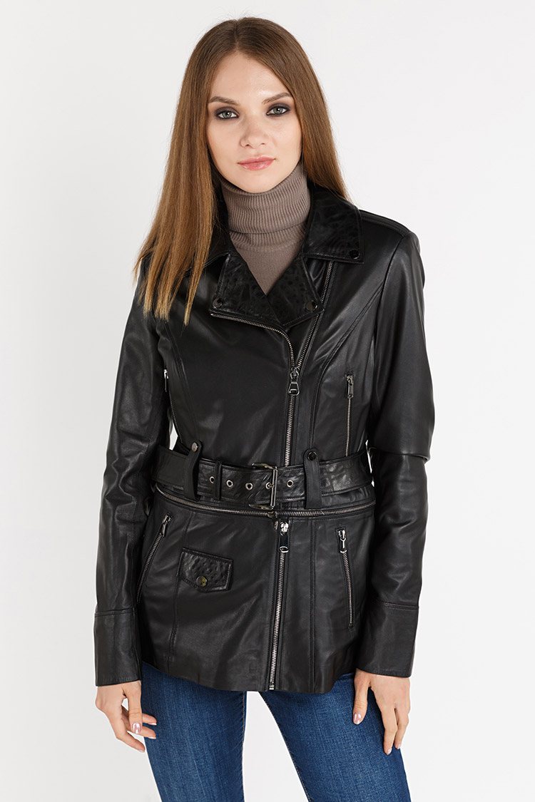Куртка женская из натуральной кожи черная, модель 2724