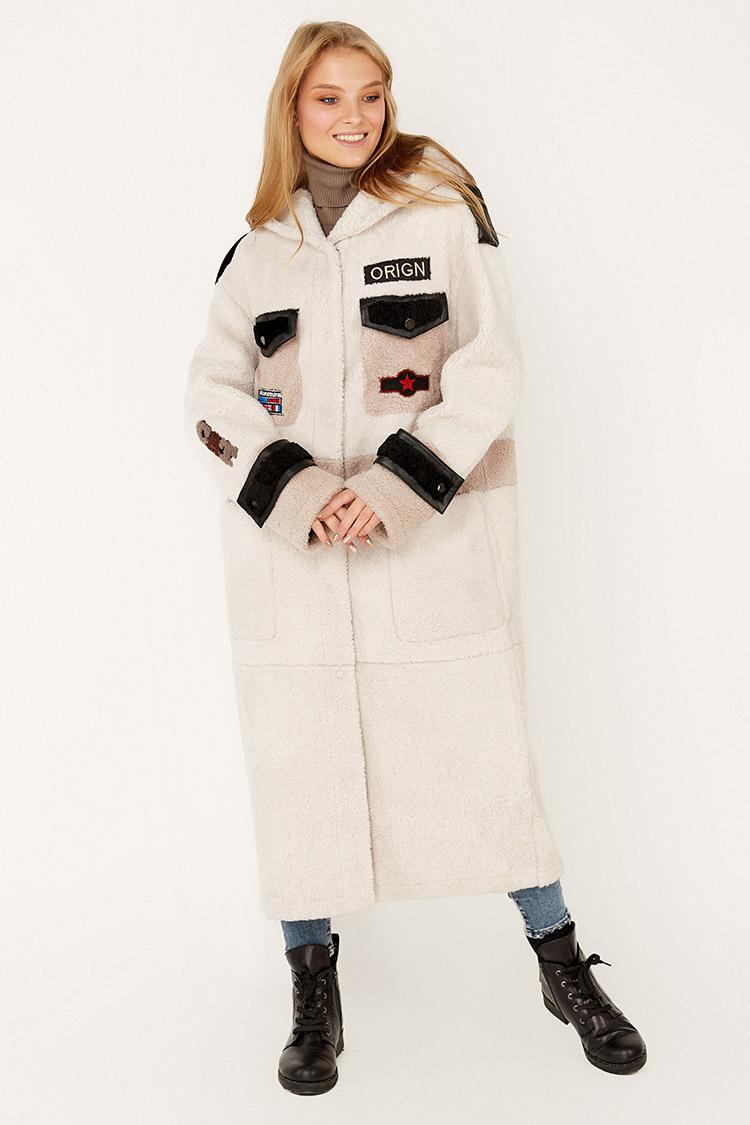 Дубленка женская из кёрли бежевая, модель 2062/KPS