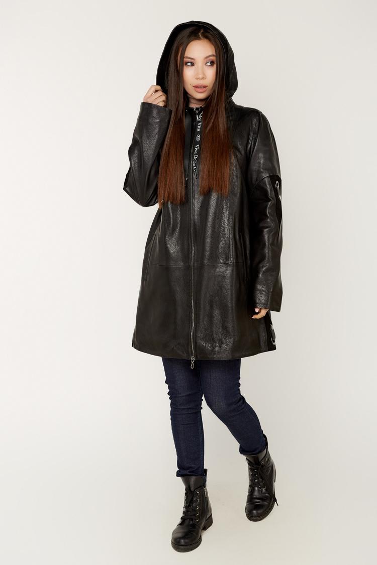 Куртка женская из натуральной кожи черная, модель P-034/KPS