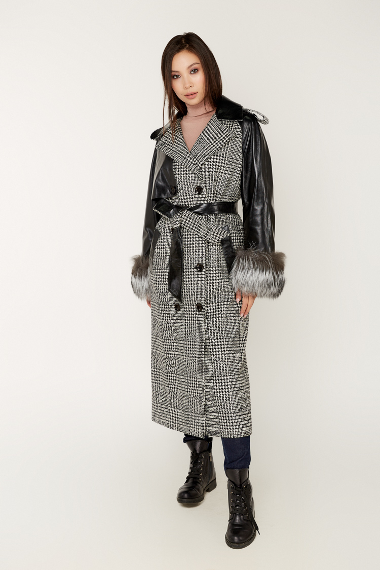 Пальто женское из кашемира черное, модель C 7040