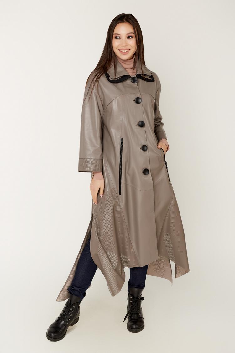 Куртка женская из натуральной кожи коричневая, модель 163