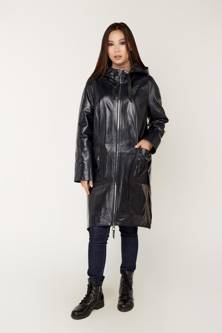 Куртка женская из натуральной кожи синяя, модель 008/KPS