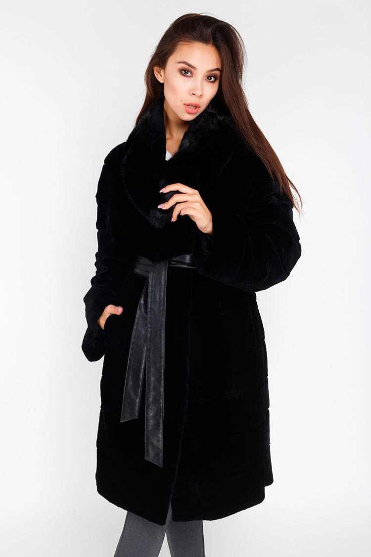Шуба женская из шиншиллы черная, модель 282-13