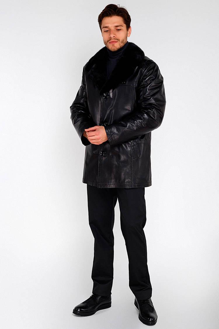 Дубленка мужская из натуральной овчины черная, модель 13058