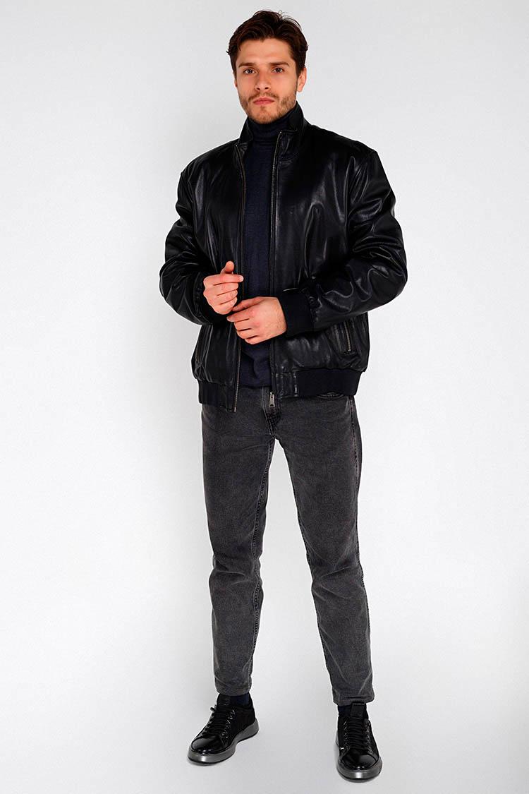 Куртка мужская из натуральной кожи черная, модель 8508