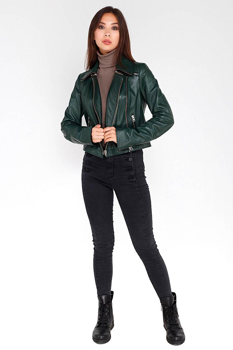 Куртка женская из натуральной кожи зеленая, модель RC-1701