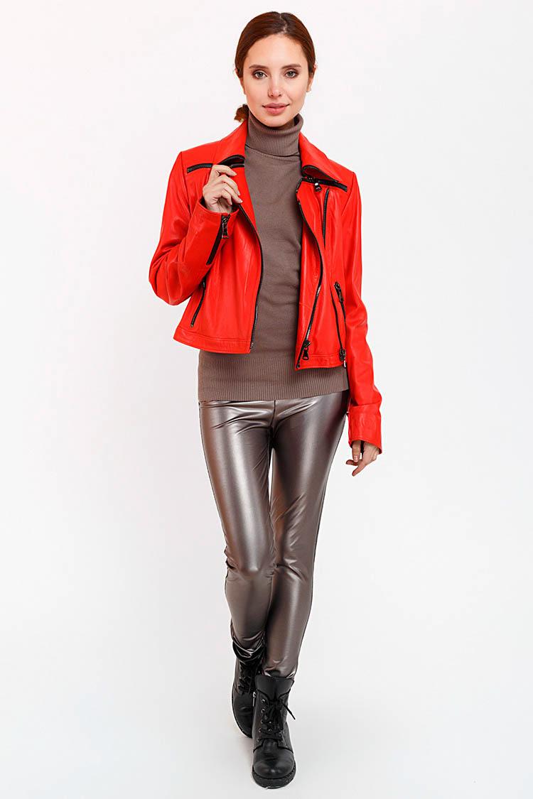 Куртка женская из натуральной кожи красная, модель RC-1701