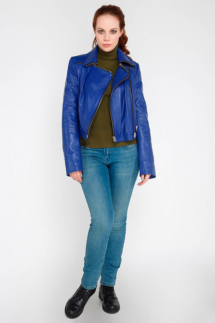 Куртка женская из натуральной кожи синяя, модель RC-1701