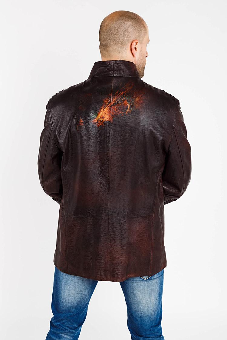Куртка чоловіча з натуральної шкіри коричнева, модель 19172