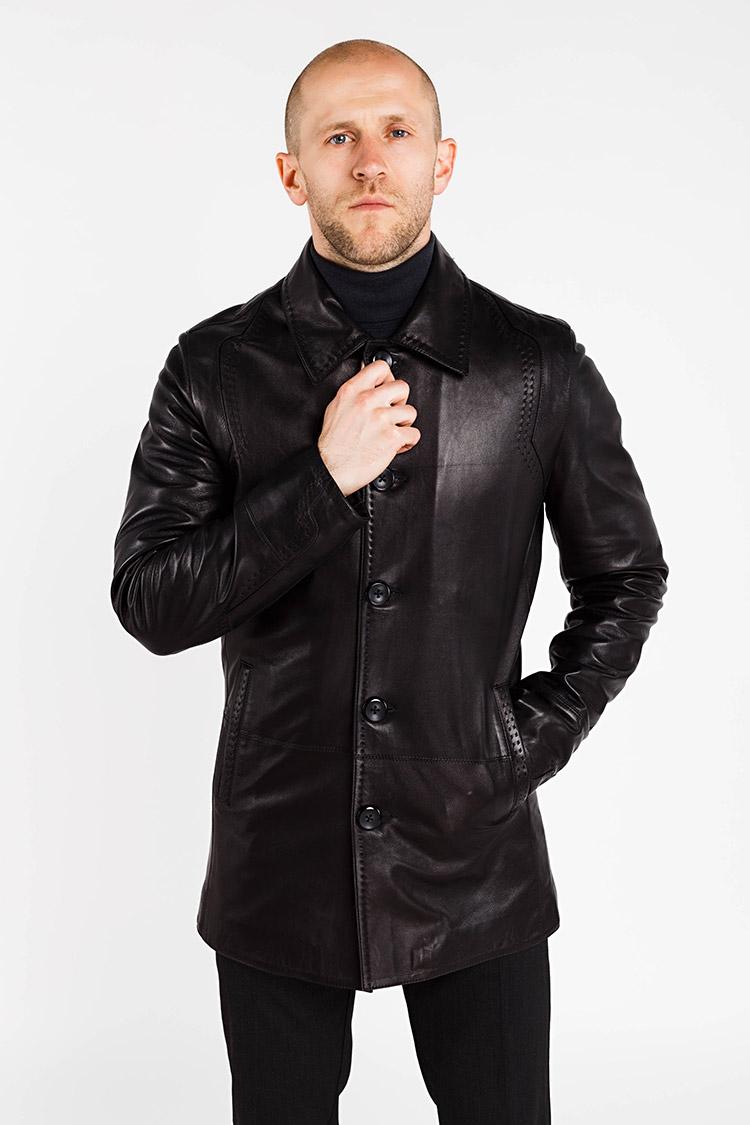 Куртка чоловіча з натуральної шкіри чорна, модель A-678/3