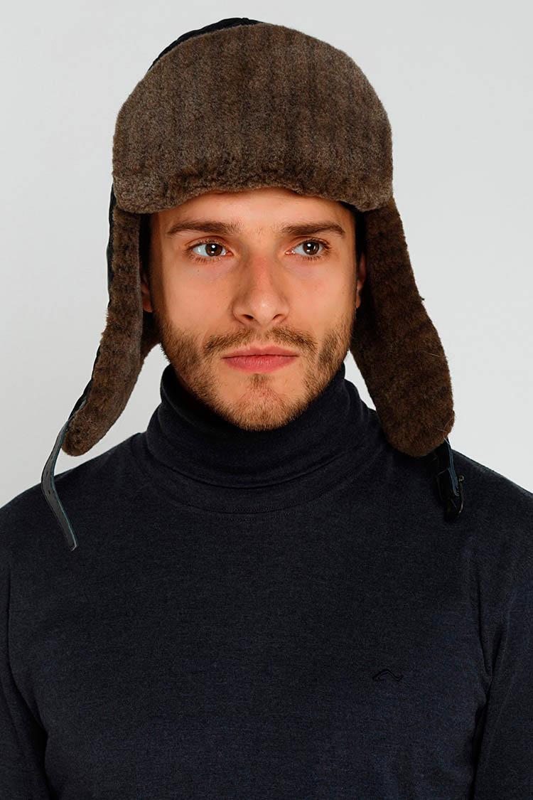 Шапка чоловіча з полиэстера чорна, модель ушанка