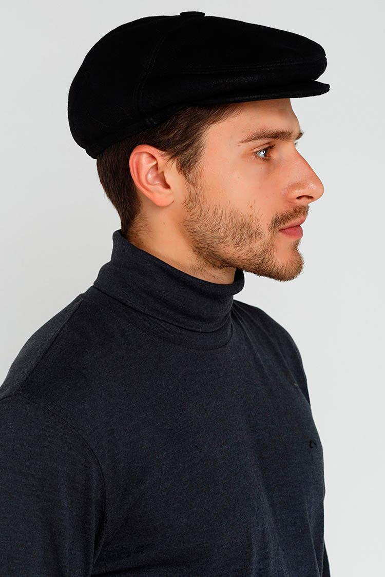 Шапка чоловіча з натуральної шкіри чорна, модель пятиклинка/ушки