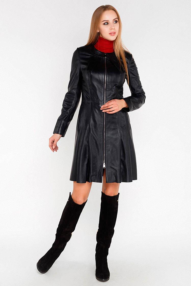 Куртка подовжена жiноча з натуральної шкіри чорна, модель 5100