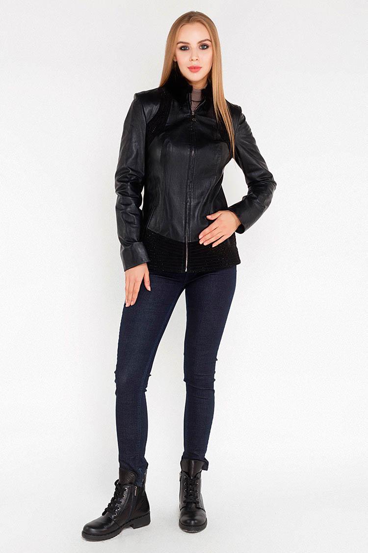 Куртка утеплена жiноча з натуральної шкіри чорна, модель Z-419