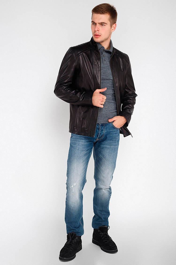 Куртка мужская из натуральной кожи черная, модель F-342