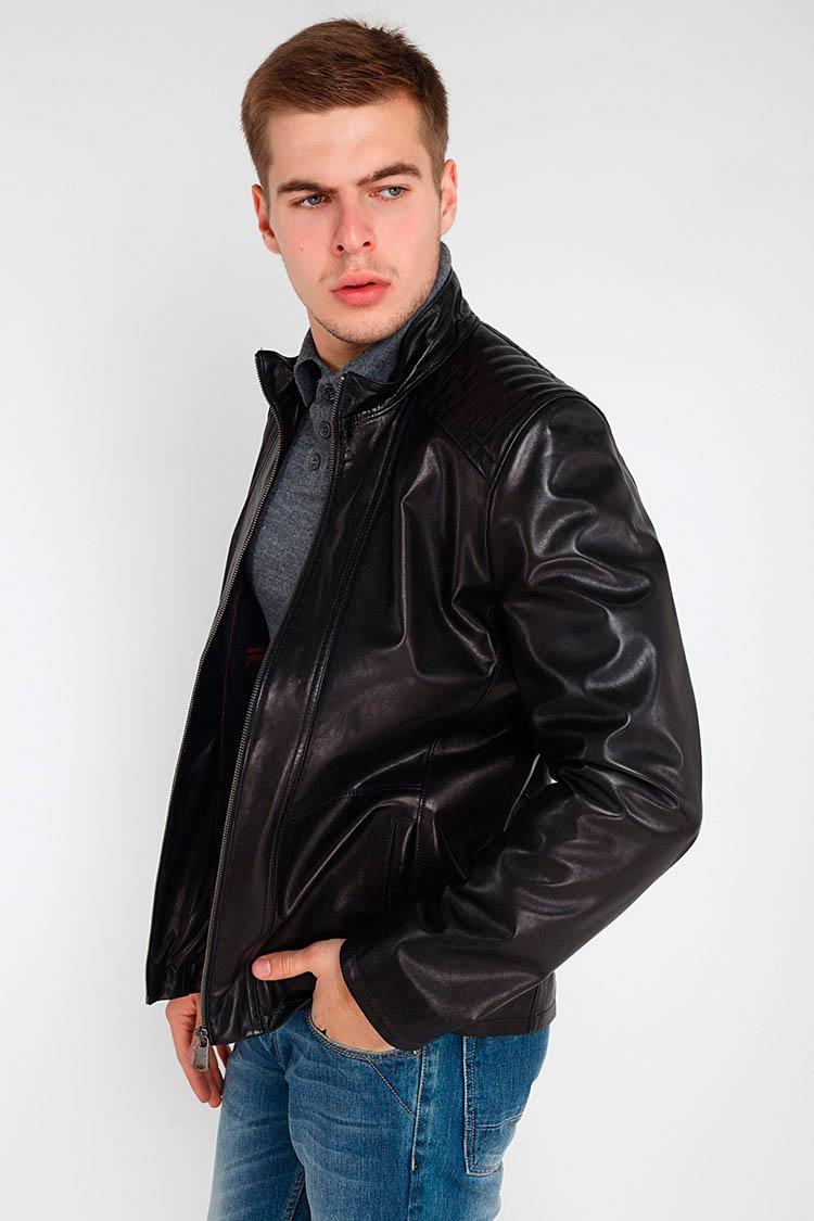 Куртка чоловіча з натуральної шкіри чорна, модель F-342