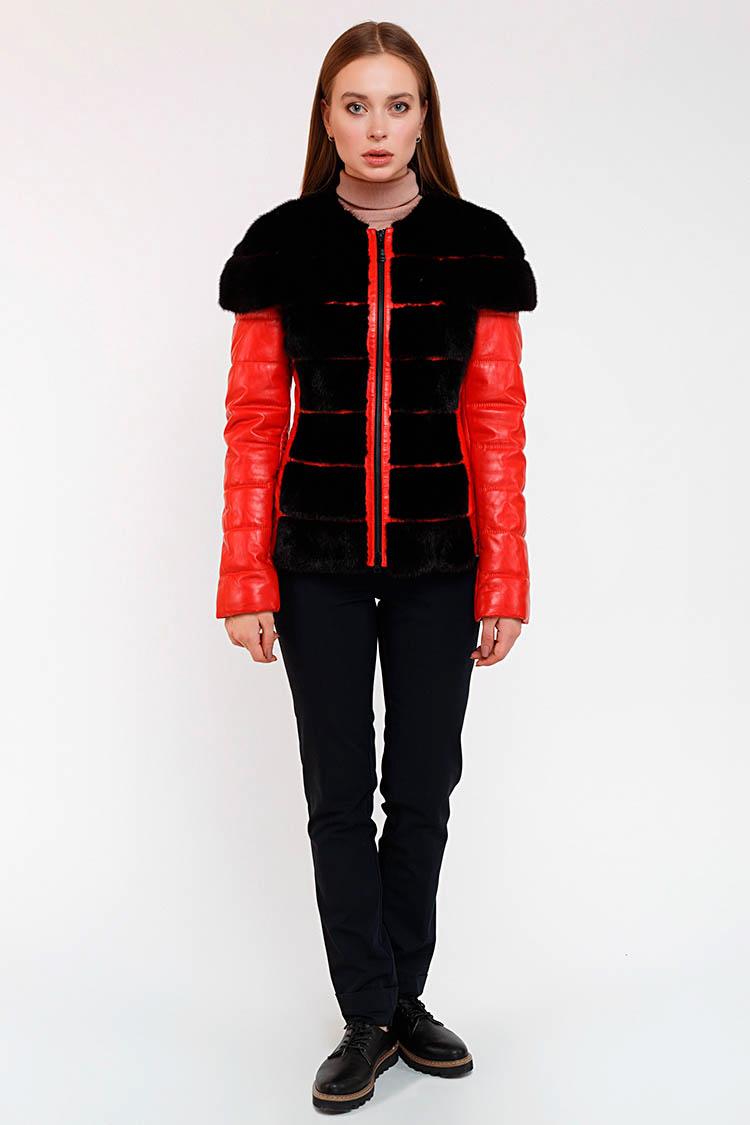 Куртка женская из натуральной кожи красная, модель KK-837