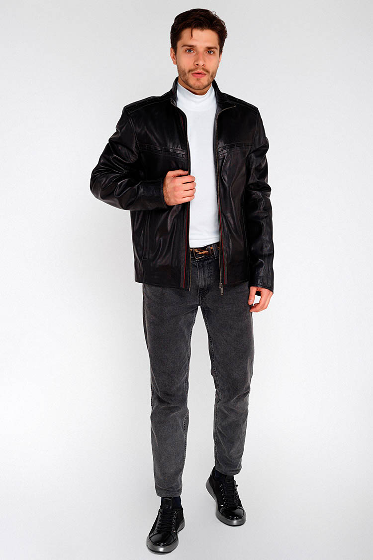 Куртка мужская из натуральной кожи черная, модель F-289