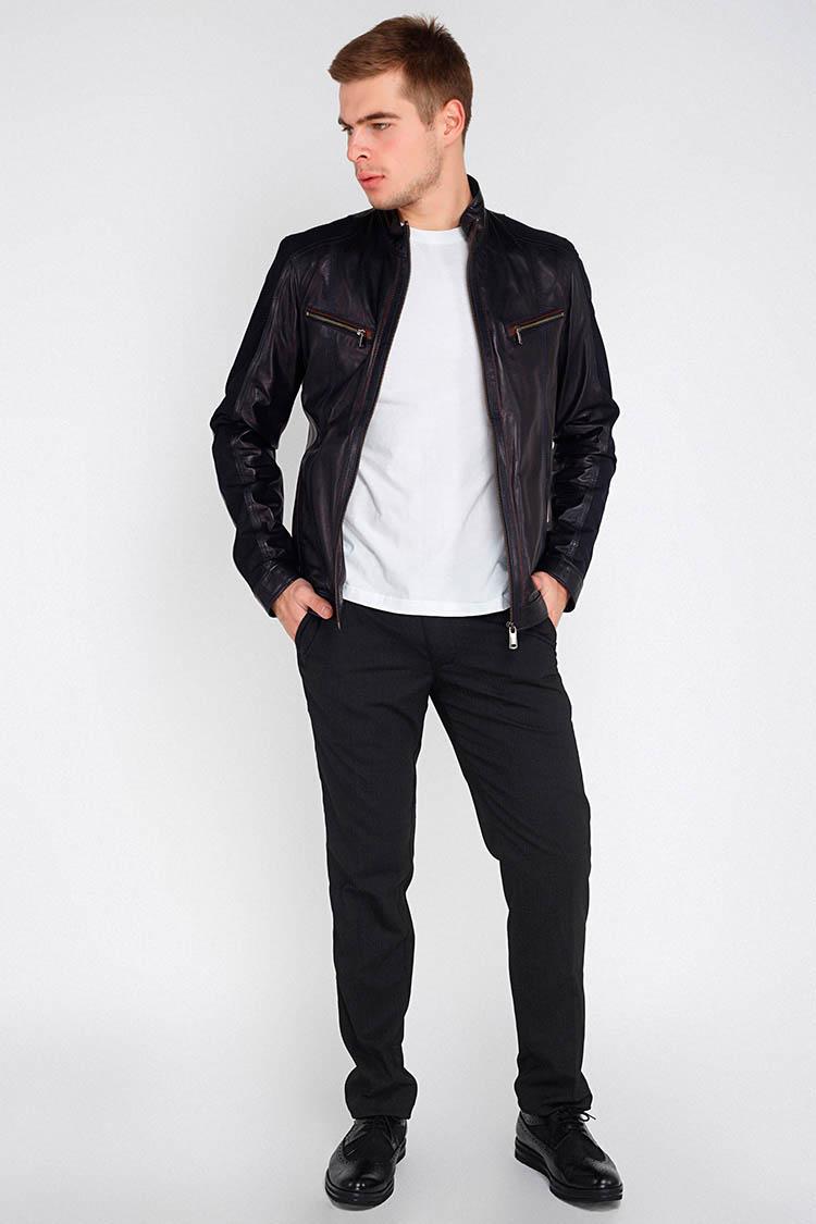 Куртка мужская из натуральной кожи синяя, модель F-351