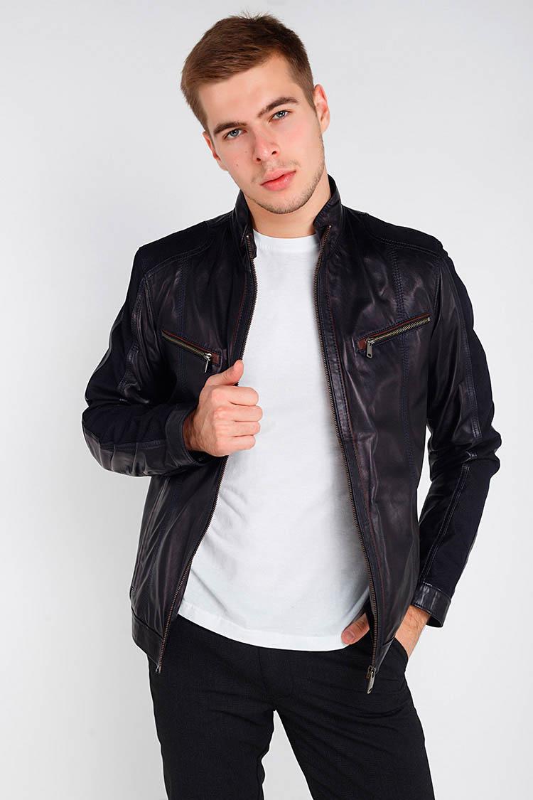 Куртка чоловіча з натуральної шкіри синя, модель F-351