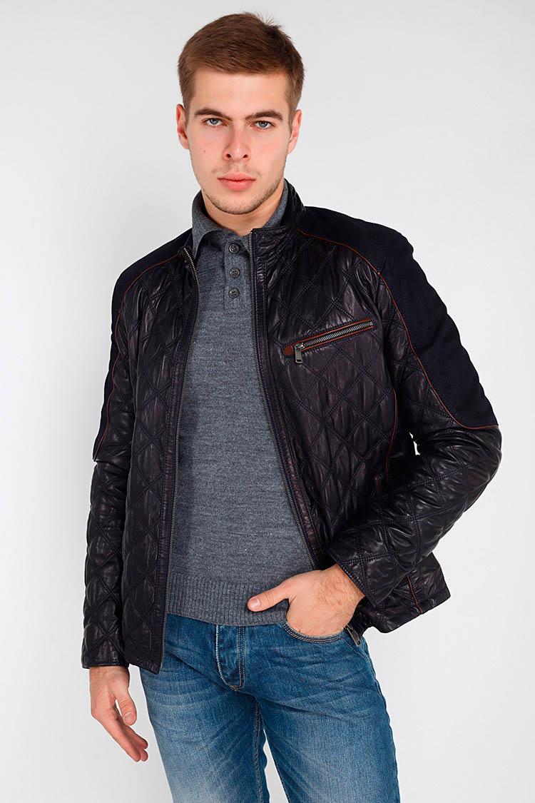 Куртка мужская из натуральной кожи синяя, модель F-336