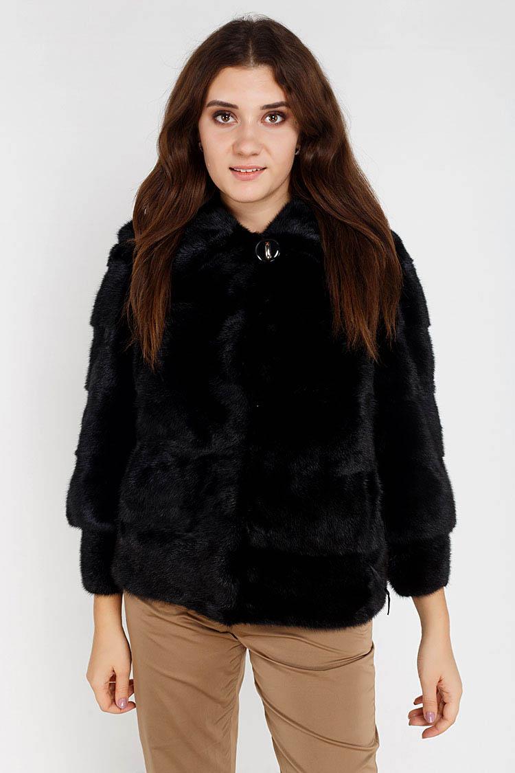 Шуба женская из норки черная, модель 095/65/KPS/рукав