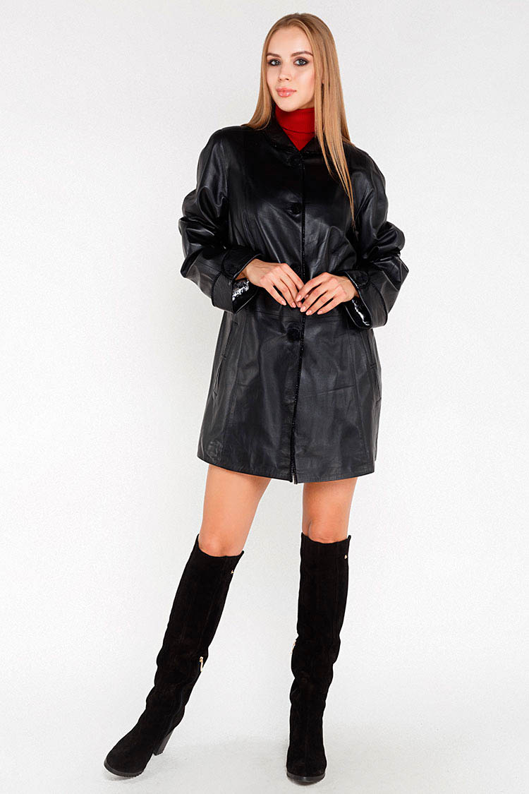 Куртка подовжена жiноча з натуральної шкіри чорна, модель 1001