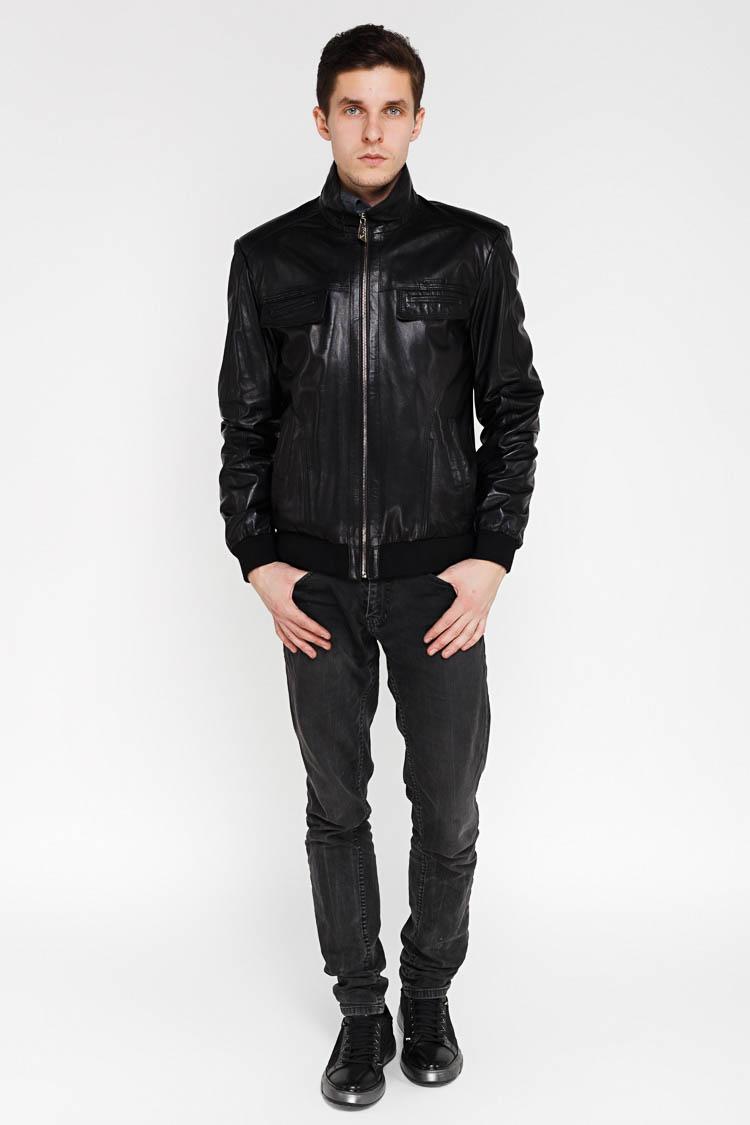 Куртка мужская из натуральной кожи черная, модель 2021
