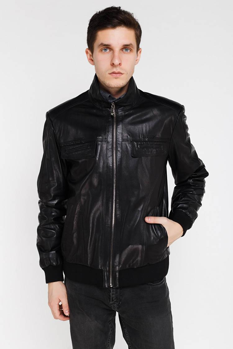 Куртка чоловіча з натуральної шкіри чорна, модель 2021
