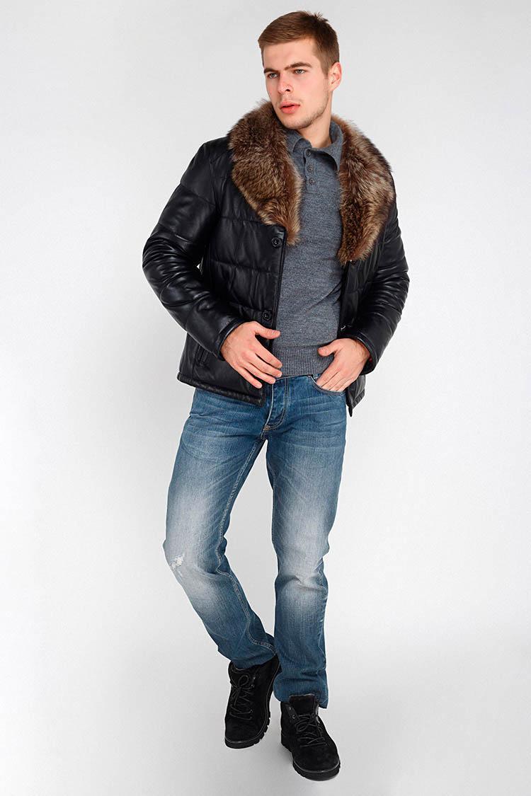 Куртка утепленная мужская из натуральной кожи черная, модель DR-162