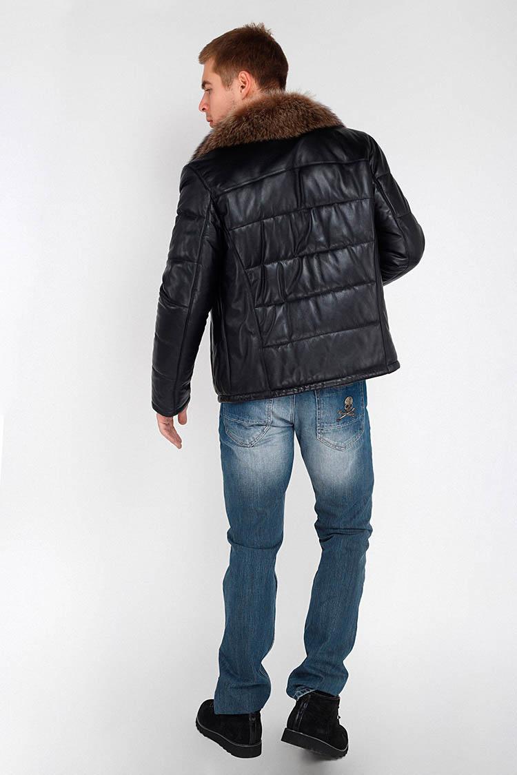 Куртка мужская из натуральной кожи черная, модель DR-162