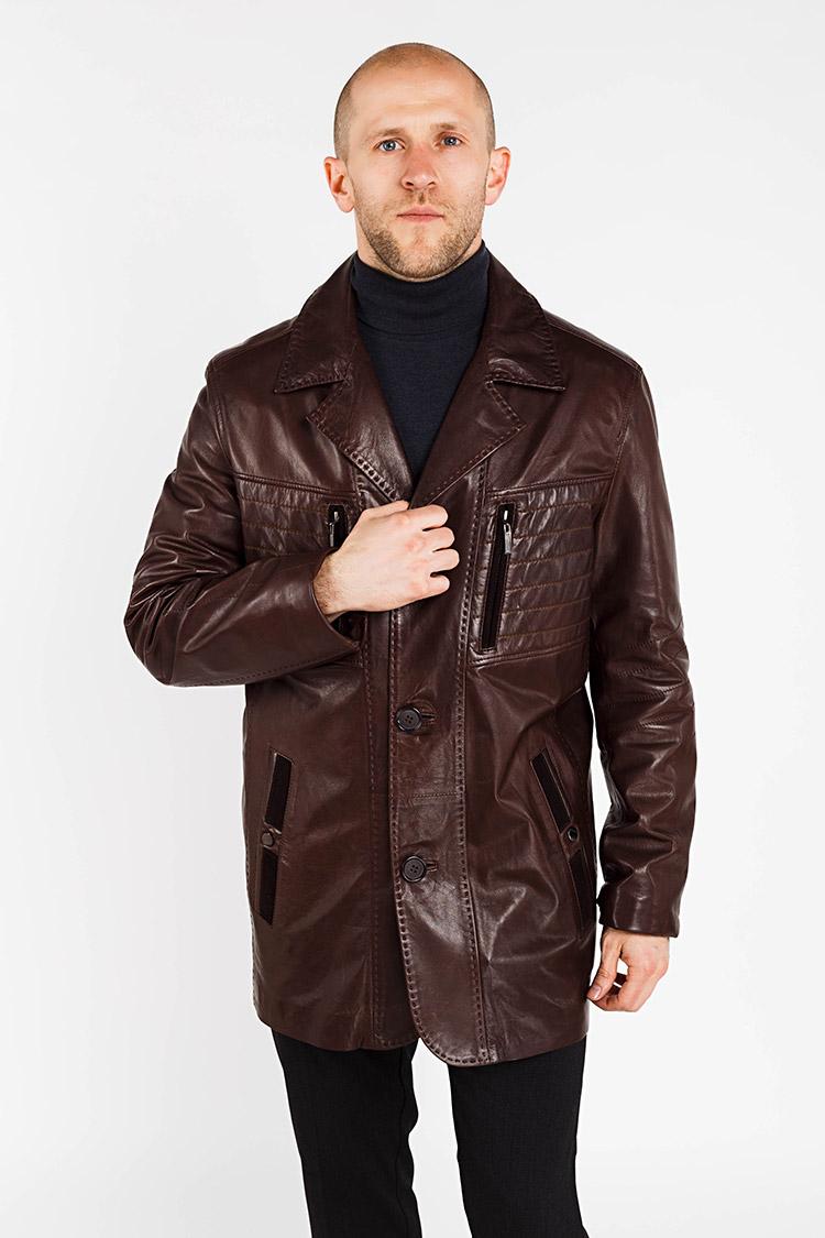 Куртка чоловіча з натуральної шкіри коричнева, модель S-191