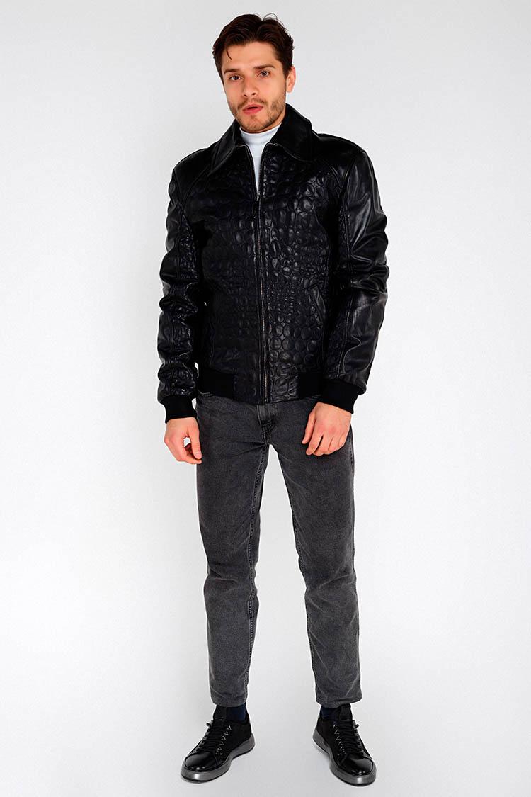 Куртка мужская из натуральной кожи черная, модель PP-2059/довяз