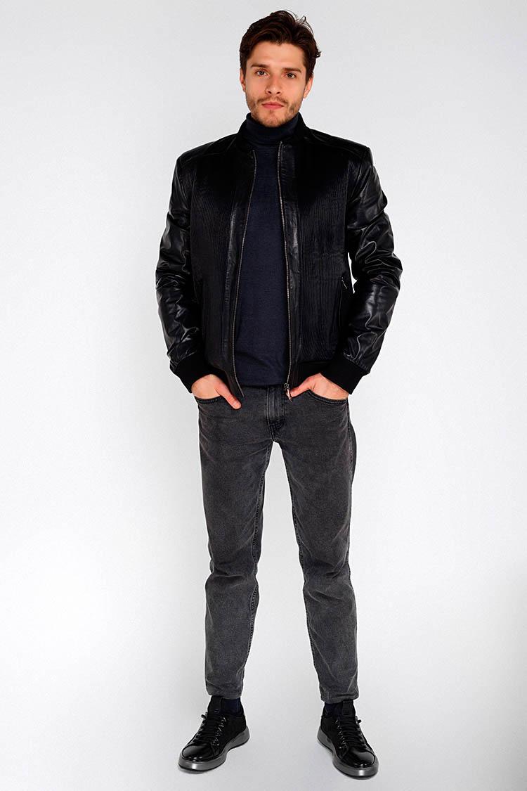 Куртка мужская из натуральной кожи черная, модель 1013
