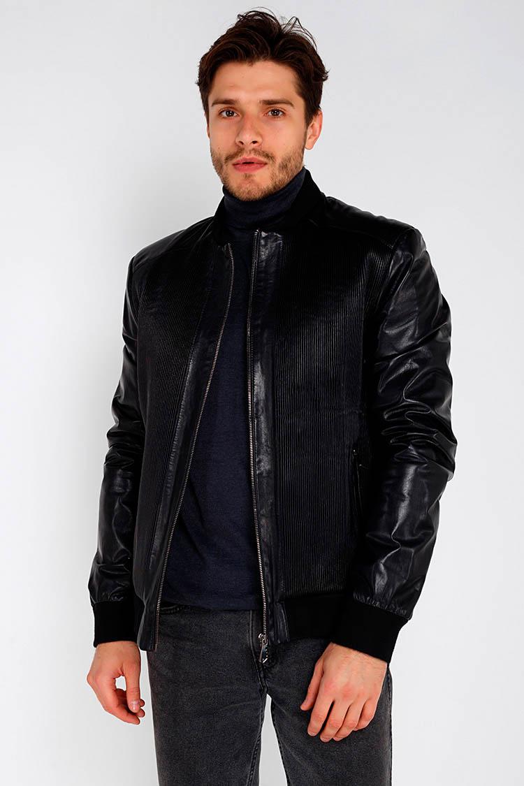 Куртка чоловіча з натуральної шкіри чорна, модель 1013